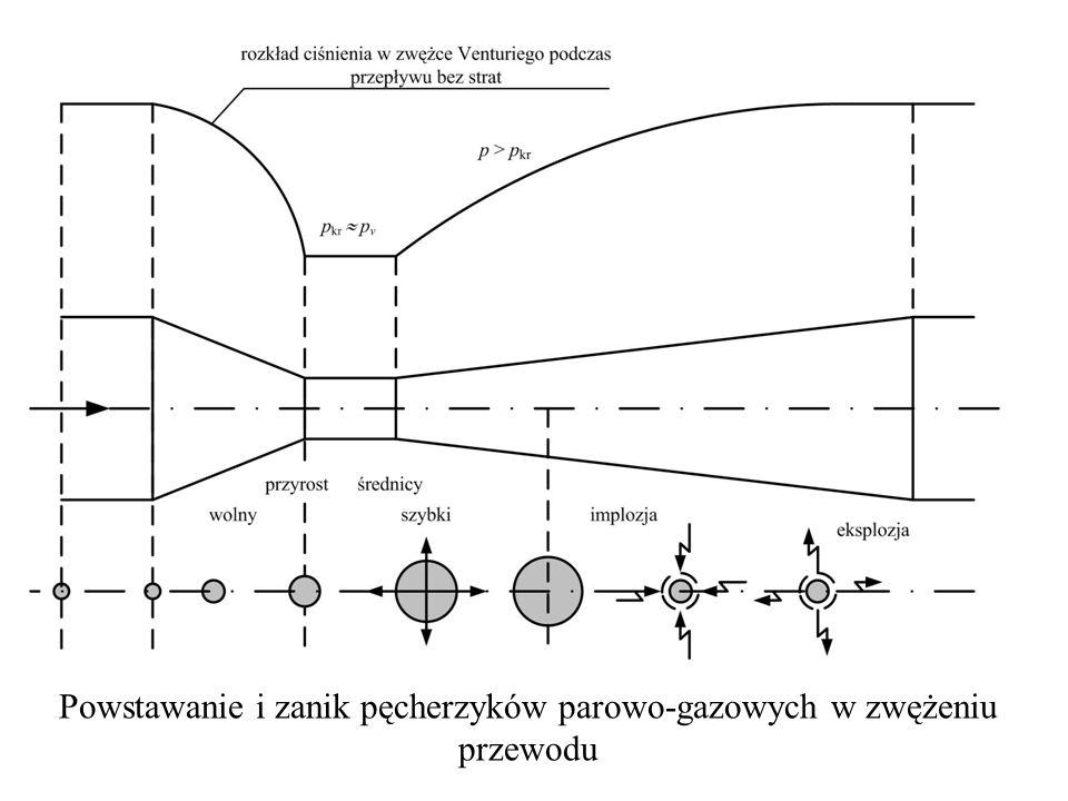 Powstawanie i zanik pęcherzyków parowo-gazowych w zwężeniu przewodu