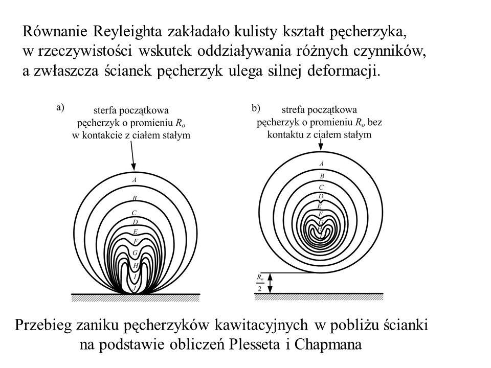 Równanie Reyleighta zakładało kulisty kształt pęcherzyka, w rzeczywistości wskutek oddziaływania różnych czynników, a zwłaszcza ścianek pęcherzyk ulega silnej deformacji.