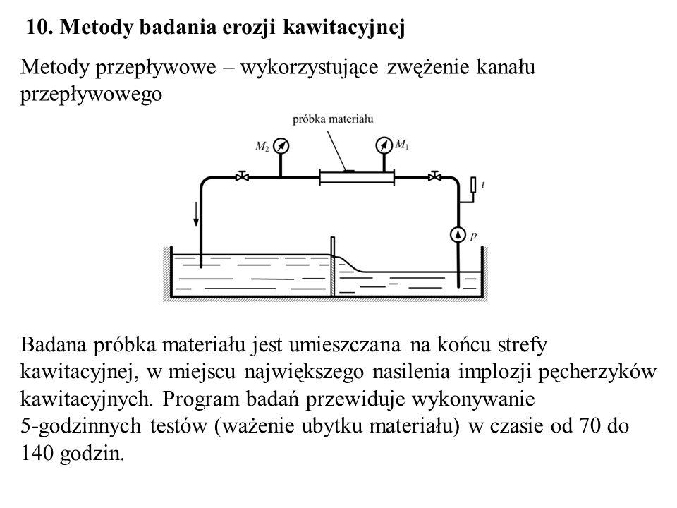 10. Metody badania erozji kawitacyjnej