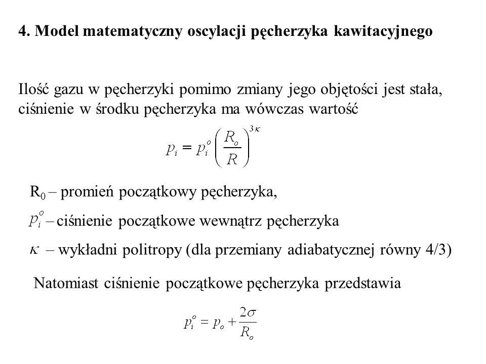 4. Model matematyczny oscylacji pęcherzyka kawitacyjnego