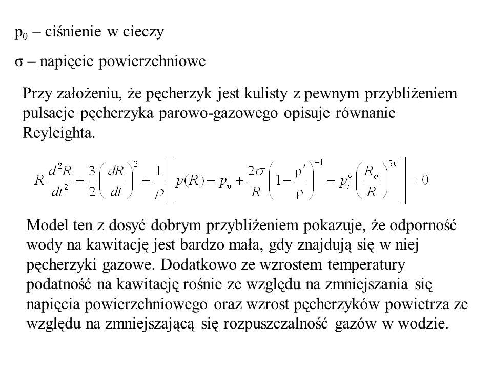 p0 – ciśnienie w cieczy σ – napięcie powierzchniowe.