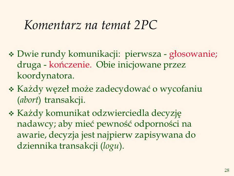 Komentarz na temat 2PC Dwie rundy komunikacji: pierwsza - głosowanie; druga - kończenie. Obie inicjowane przez koordynatora.