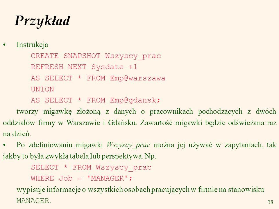Przykład Instrukcja CREATE SNAPSHOT Wszyscy_prac