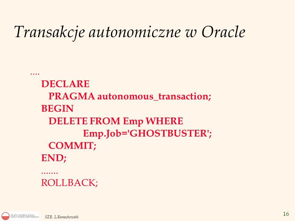 Transakcje autonomiczne w Oracle