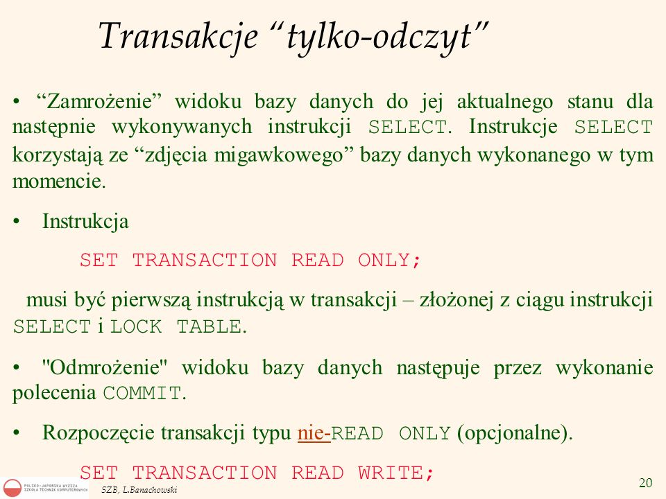 Transakcje tylko-odczyt