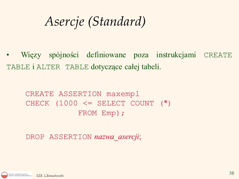 Asercje (Standard) Więzy spójności definiowane poza instrukcjami CREATE TABLE i ALTER TABLE dotyczące całej tabeli.