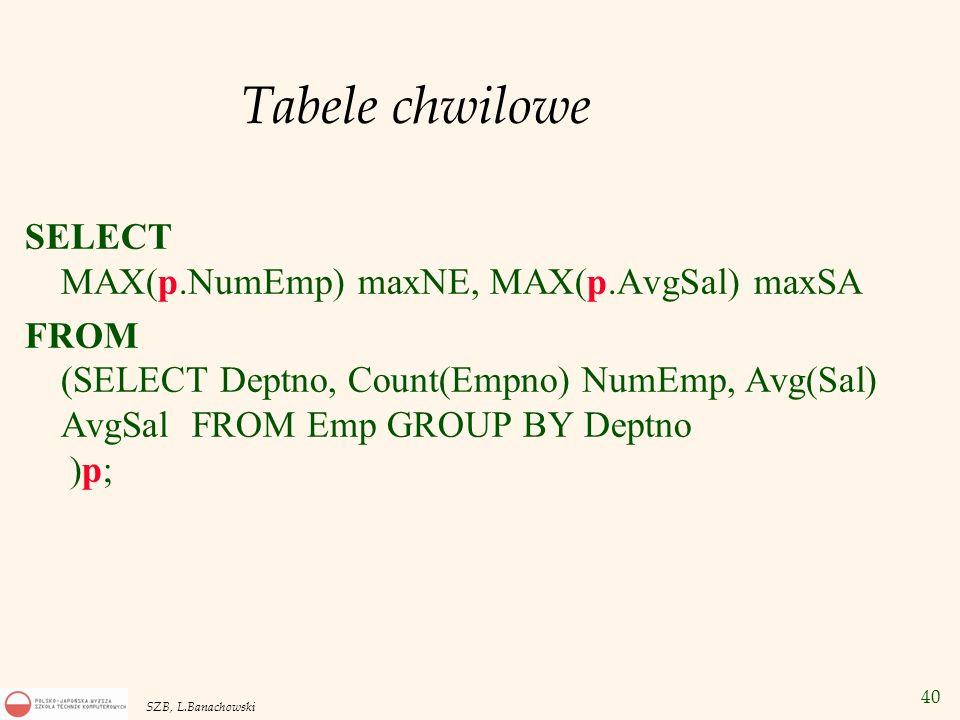 Tabele chwilowe SELECT MAX(p.NumEmp) maxNE, MAX(p.AvgSal) maxSA