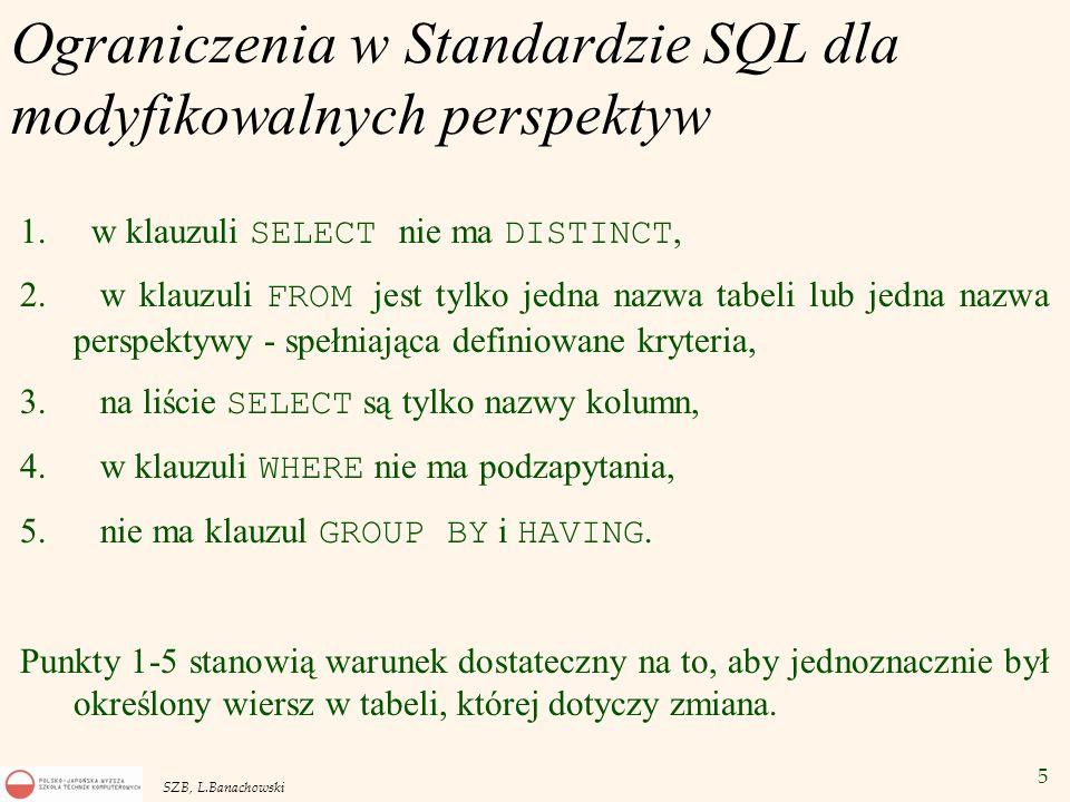 Ograniczenia w Standardzie SQL dla modyfikowalnych perspektyw