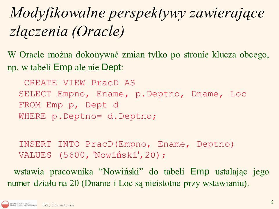 Modyfikowalne perspektywy zawierające złączenia (Oracle)