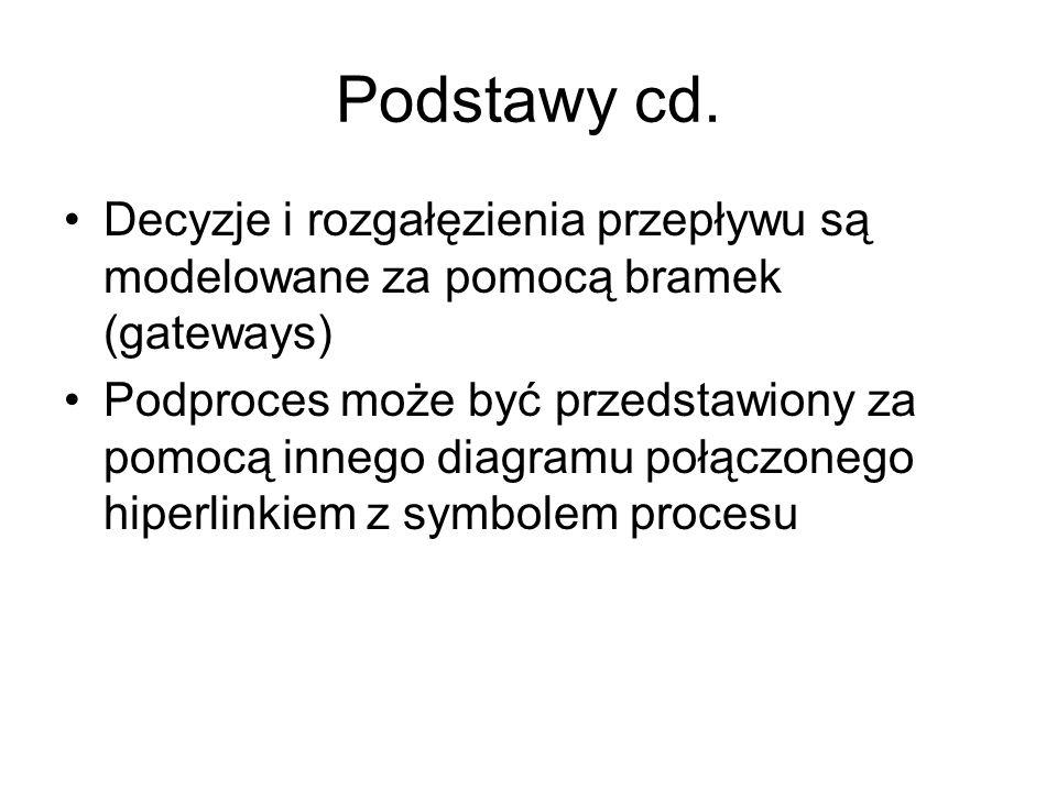 Podstawy cd. Decyzje i rozgałęzienia przepływu są modelowane za pomocą bramek (gateways)