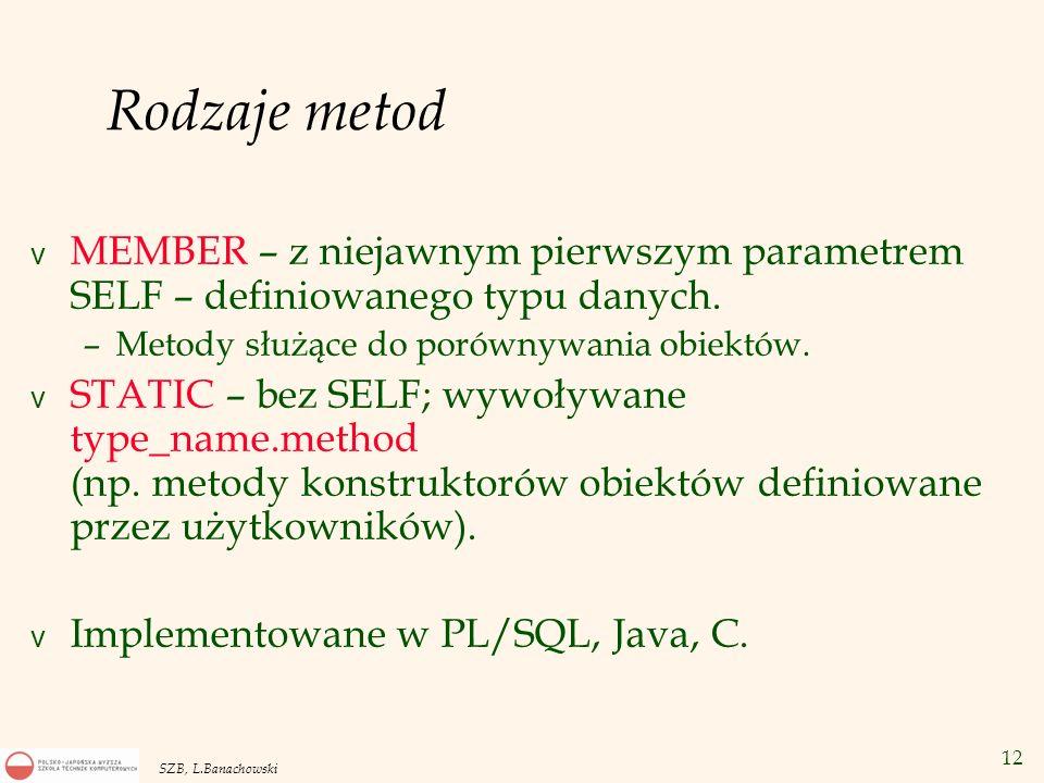 Rodzaje metod MEMBER – z niejawnym pierwszym parametrem SELF – definiowanego typu danych. Metody służące do porównywania obiektów.