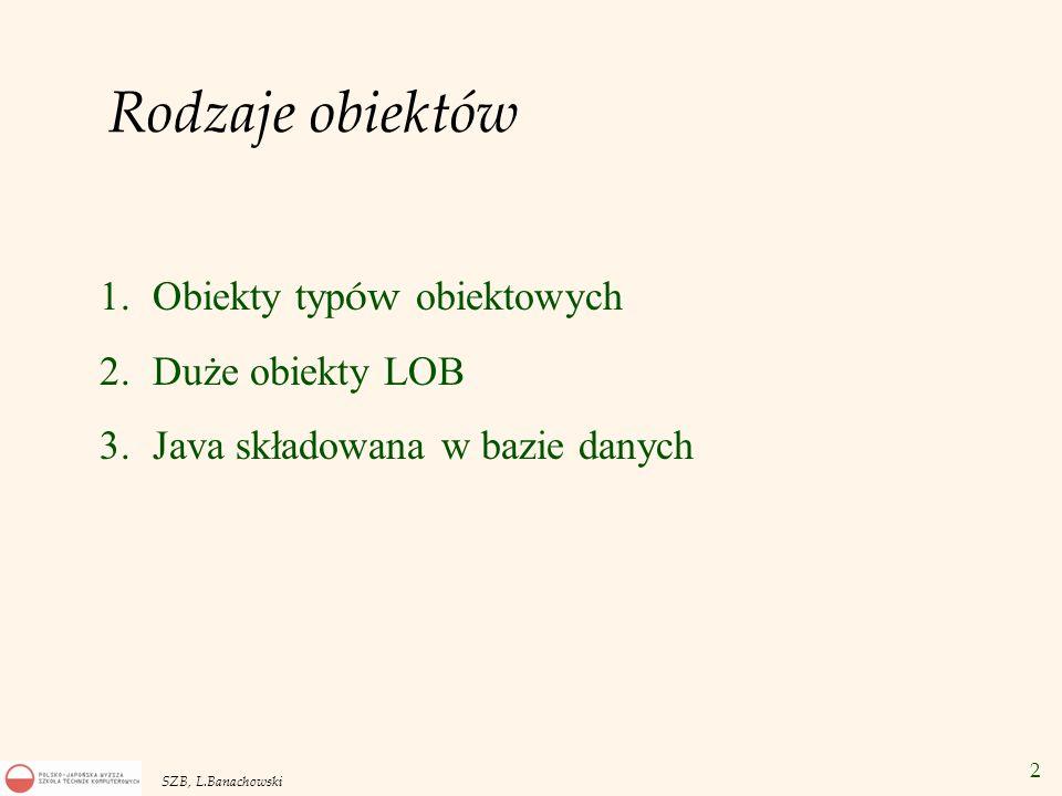 Rodzaje obiektów Obiekty typów obiektowych Duże obiekty LOB