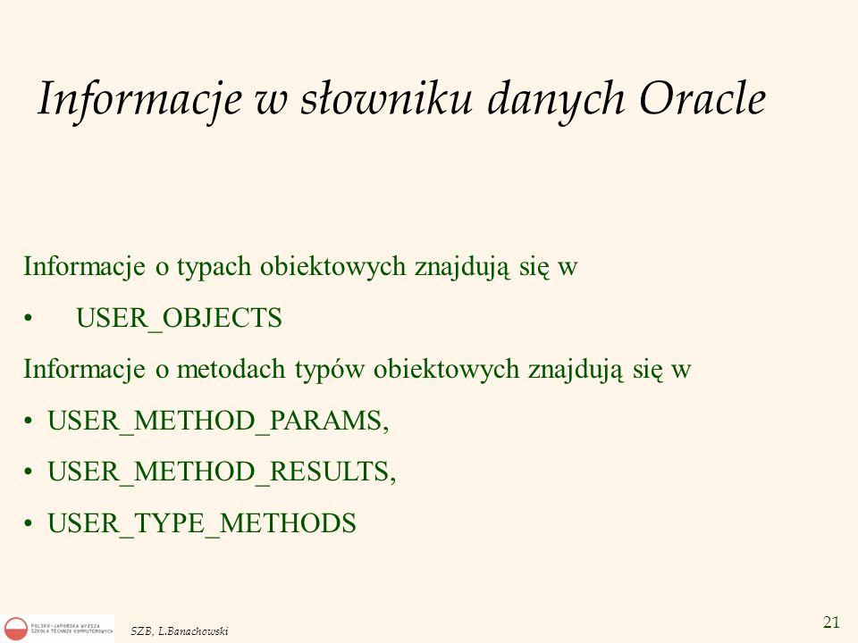 Informacje w słowniku danych Oracle