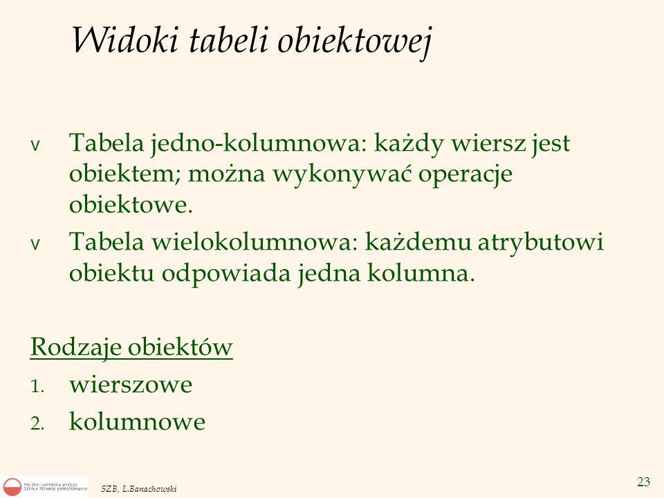 Widoki tabeli obiektowej
