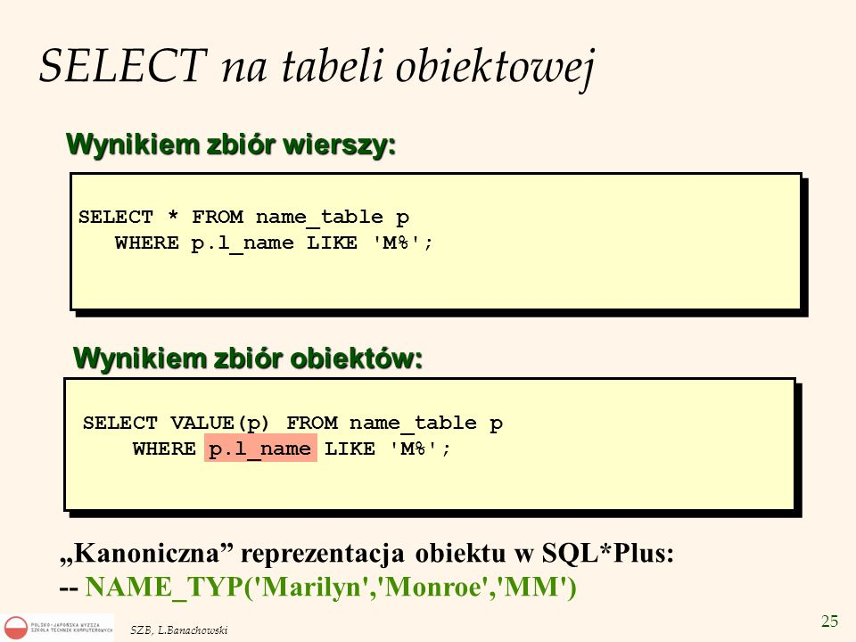 SELECT na tabeli obiektowej