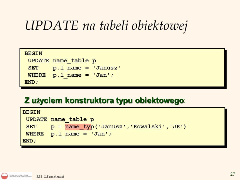 UPDATE na tabeli obiektowej