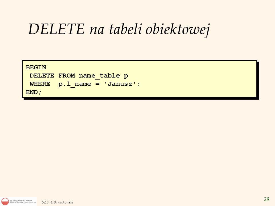 DELETE na tabeli obiektowej