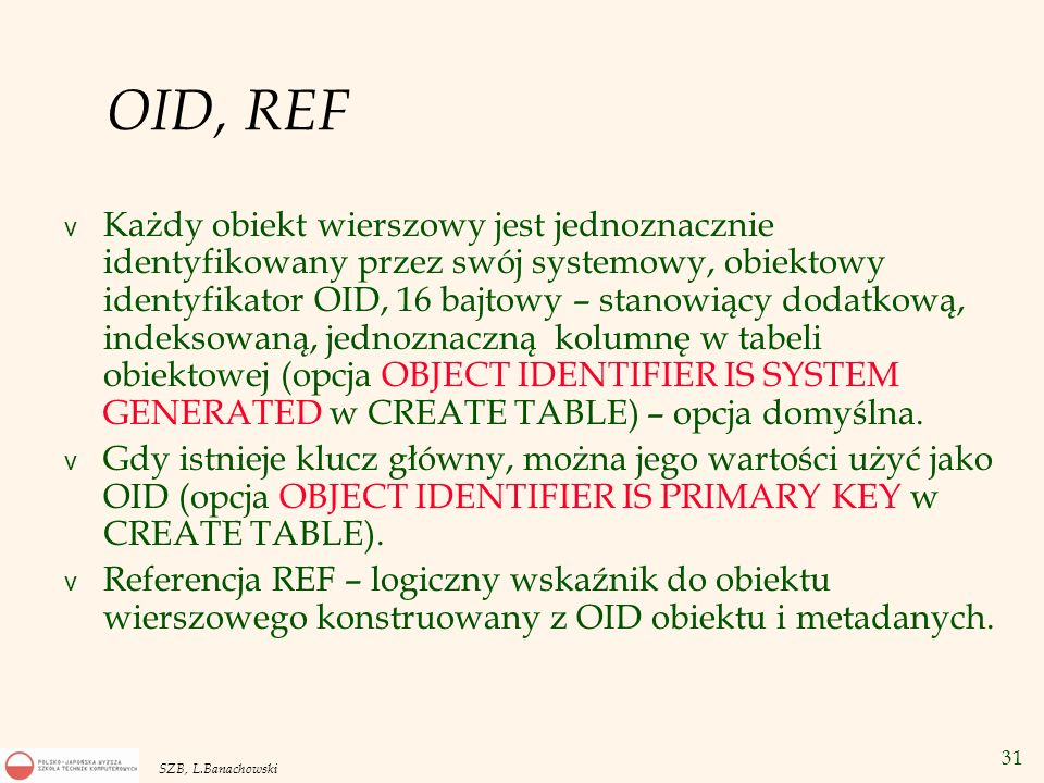OID, REF