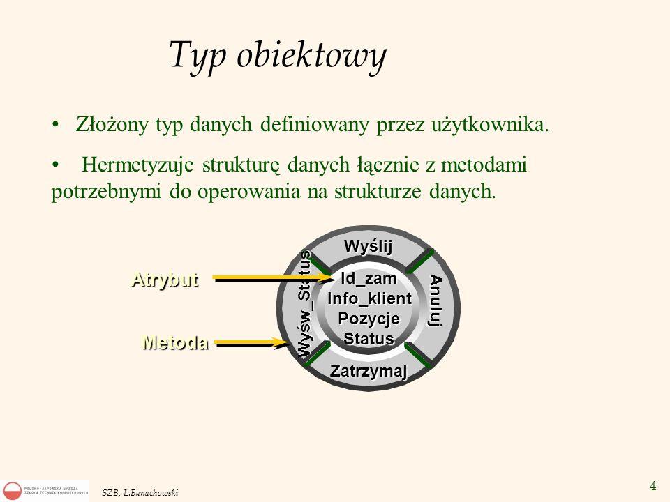 Typ obiektowy Złożony typ danych definiowany przez użytkownika.