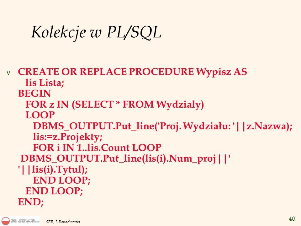 Kolekcje w PL/SQL