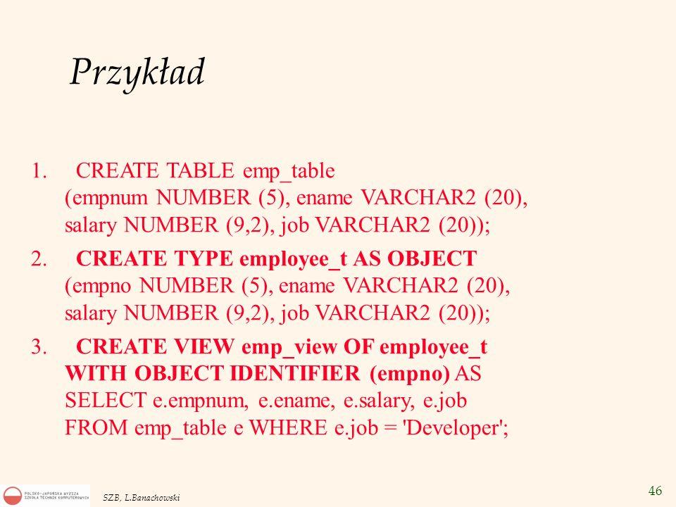 PrzykładCREATE TABLE emp_table (empnum NUMBER (5), ename VARCHAR2 (20), salary NUMBER (9,2), job VARCHAR2 (20));