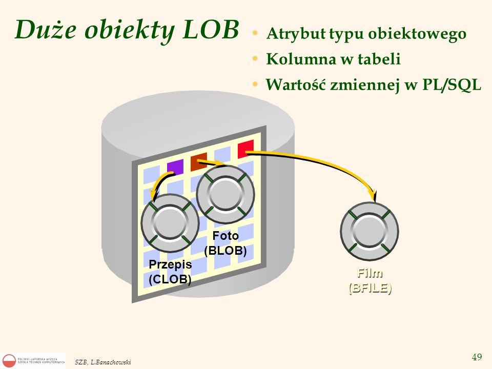 Duże obiekty LOB Atrybut typu obiektowego Kolumna w tabeli