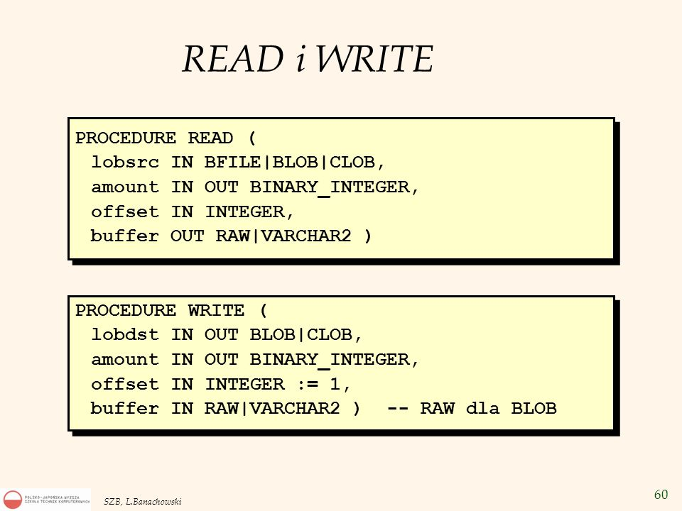 READ i WRITE PROCEDURE READ ( lobsrc IN BFILE|BLOB|CLOB,