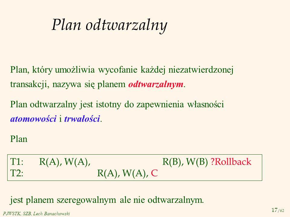 Plan odtwarzalny Plan, który umożliwia wycofanie każdej niezatwierdzonej transakcji, nazywa się planem odtwarzalnym.