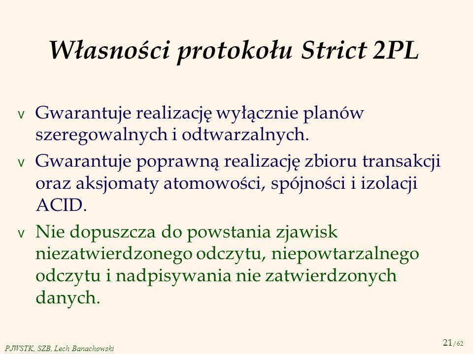 Własności protokołu Strict 2PL