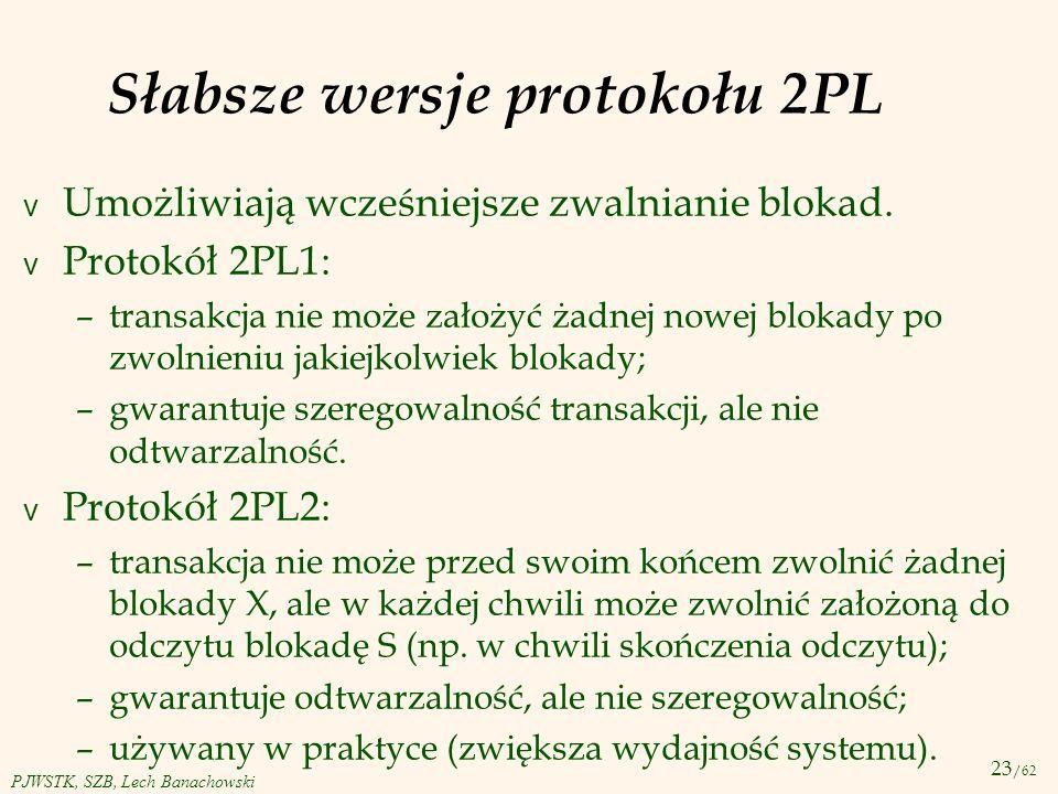 Słabsze wersje protokołu 2PL