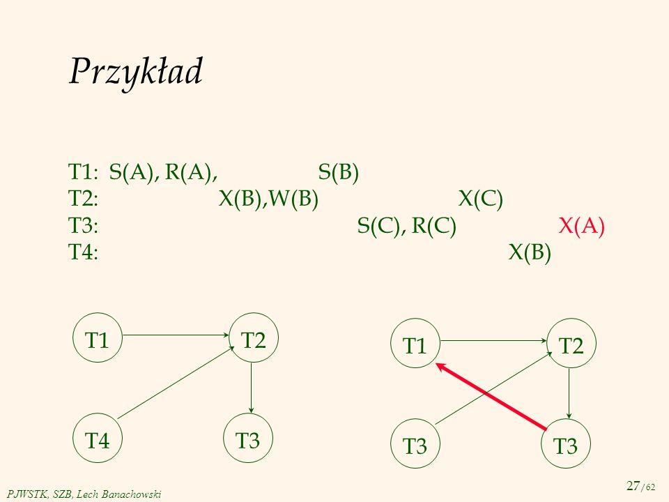 Przykład T1: S(A), R(A), S(B) T2: X(B),W(B) X(C) T3: S(C), R(C) X(A)