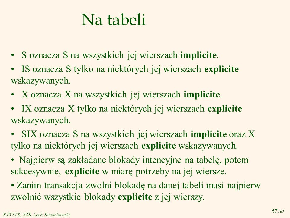 Na tabeli S oznacza S na wszystkich jej wierszach implicite.