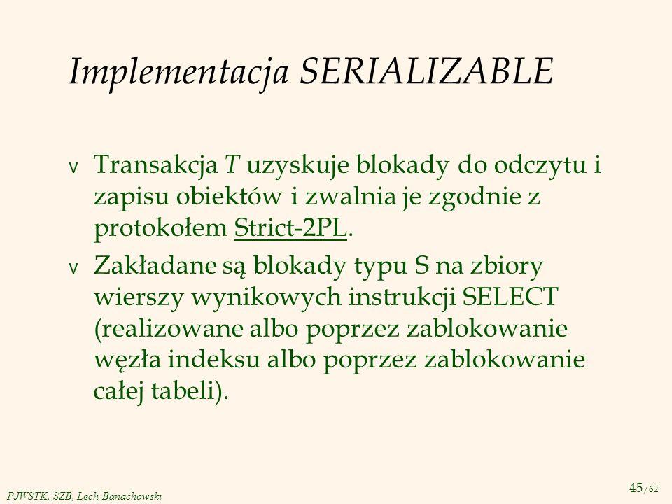Implementacja SERIALIZABLE