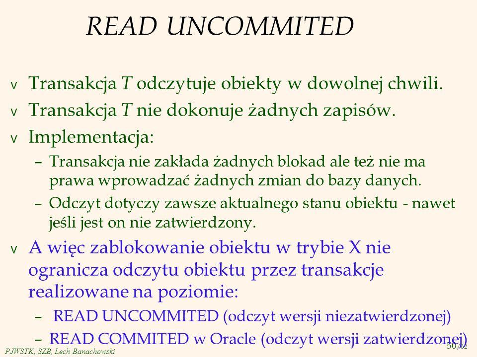 READ UNCOMMITED Transakcja T odczytuje obiekty w dowolnej chwili.