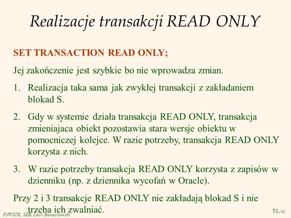 Realizacje transakcji READ ONLY