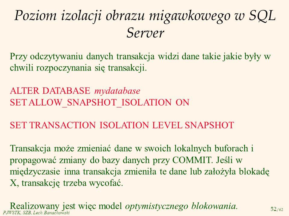 Poziom izolacji obrazu migawkowego w SQL Server