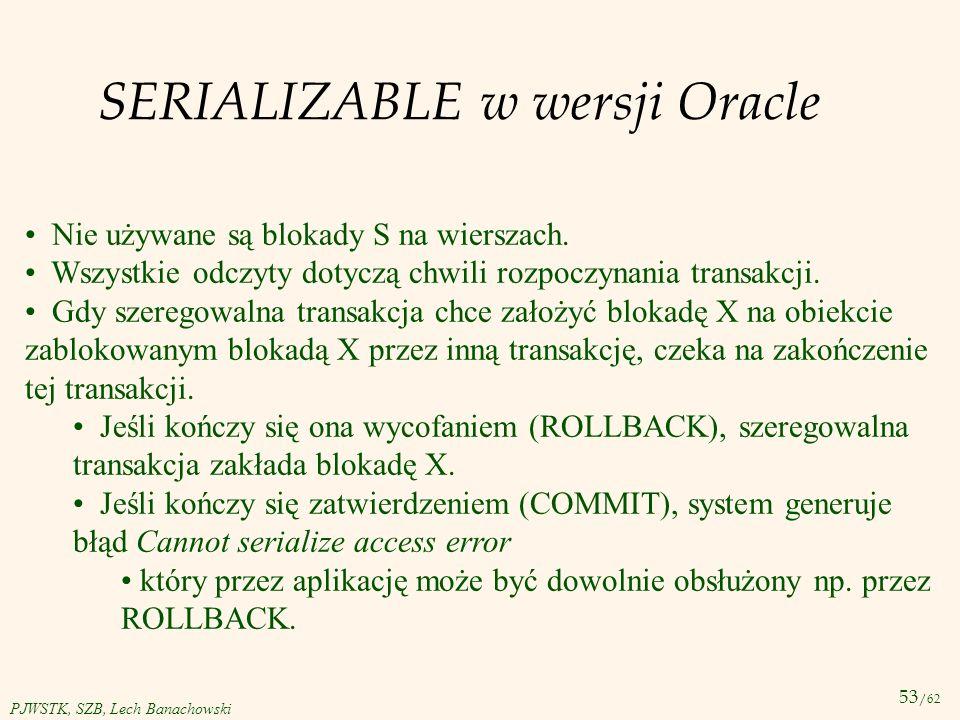 SERIALIZABLE w wersji Oracle