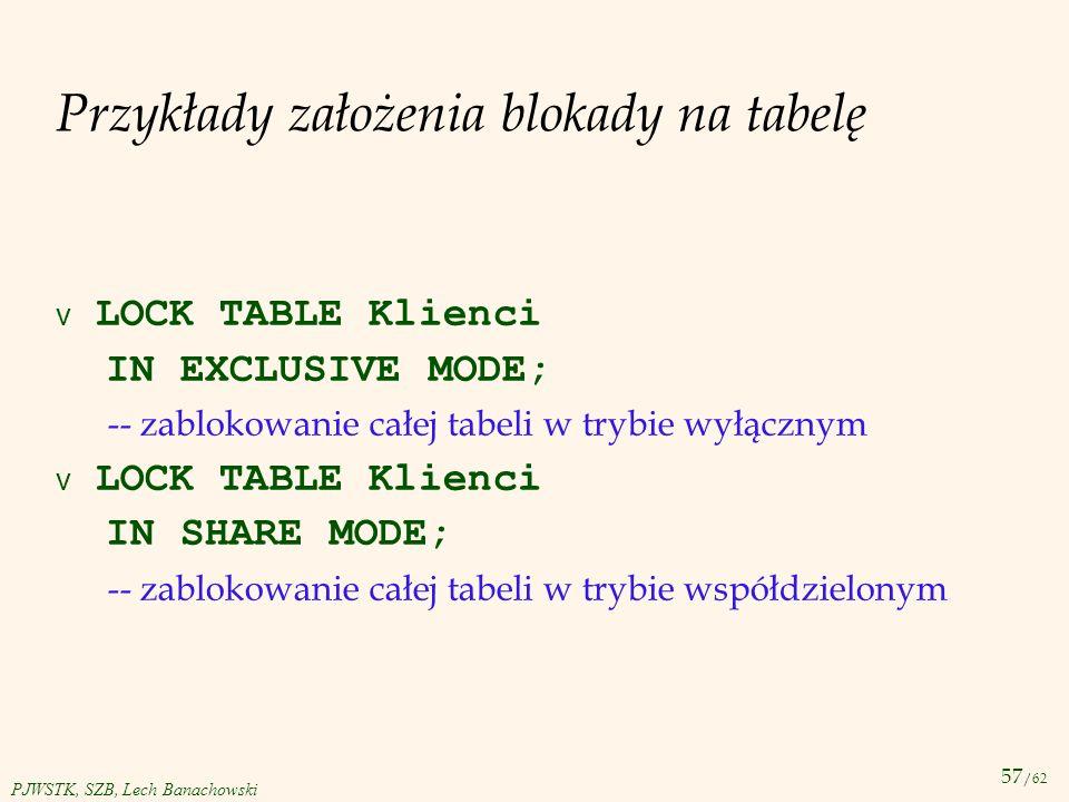 Przykłady założenia blokady na tabelę