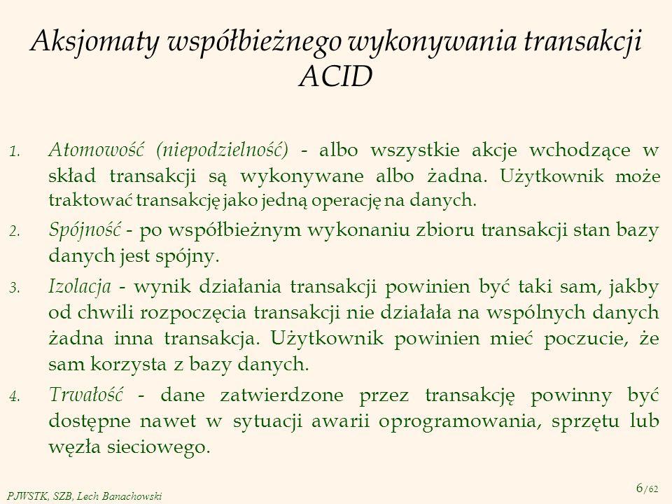 Aksjomaty współbieżnego wykonywania transakcji ACID