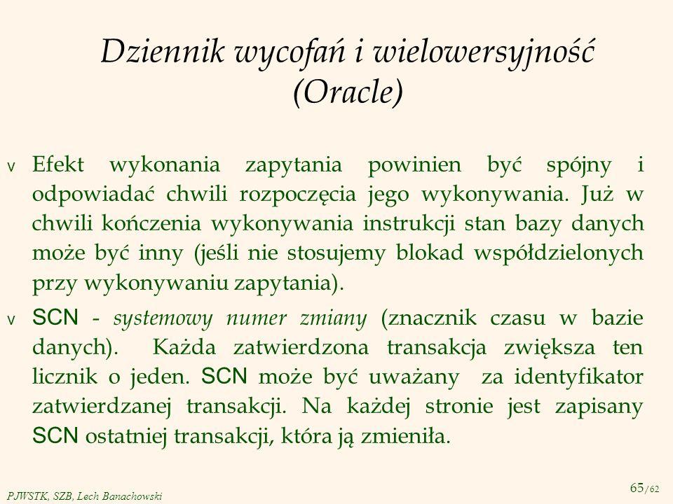 Dziennik wycofań i wielowersyjność (Oracle)