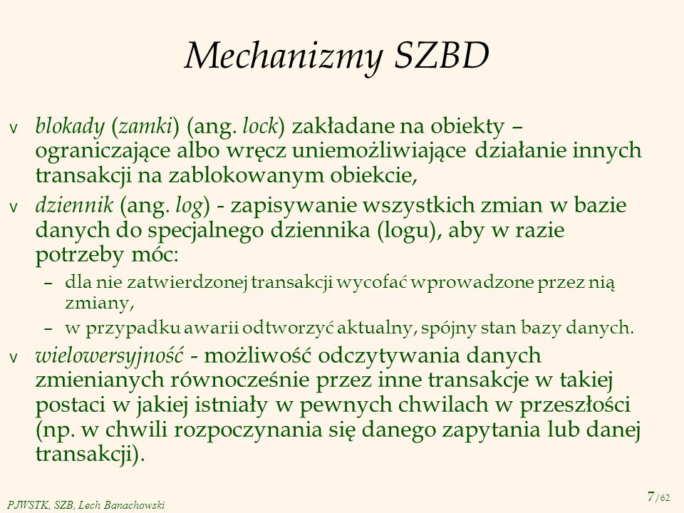 Mechanizmy SZBD