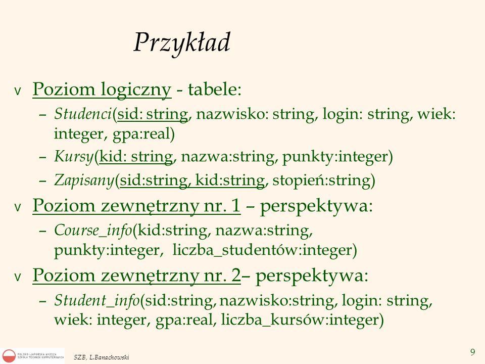 Przykład Poziom logiczny - tabele: