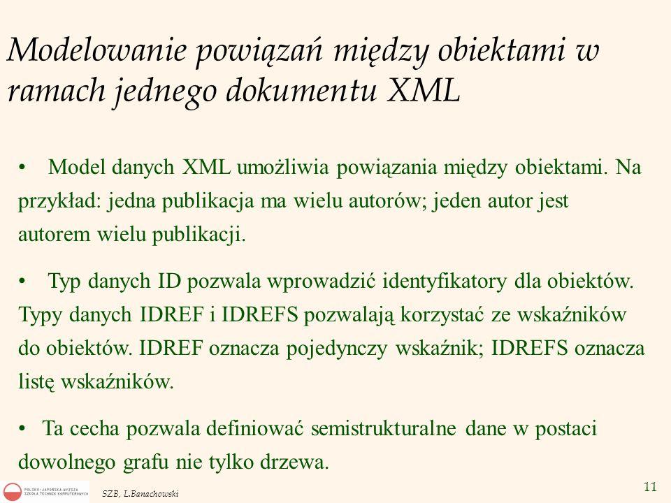 Modelowanie powiązań między obiektami w ramach jednego dokumentu XML