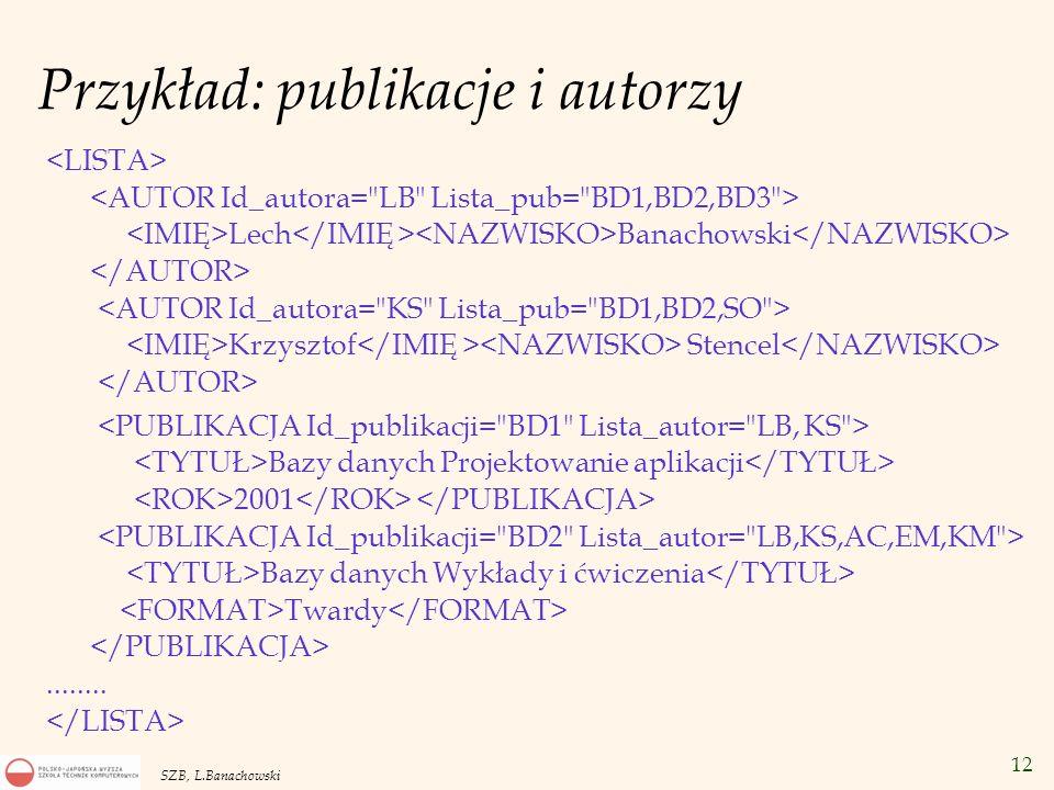 Przykład: publikacje i autorzy