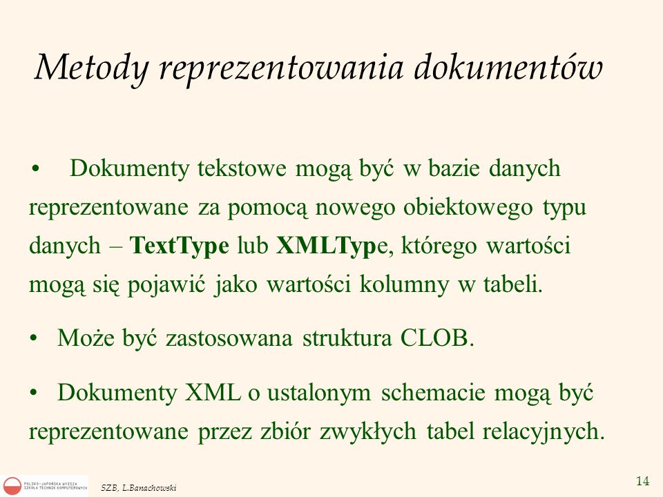 Metody reprezentowania dokumentów