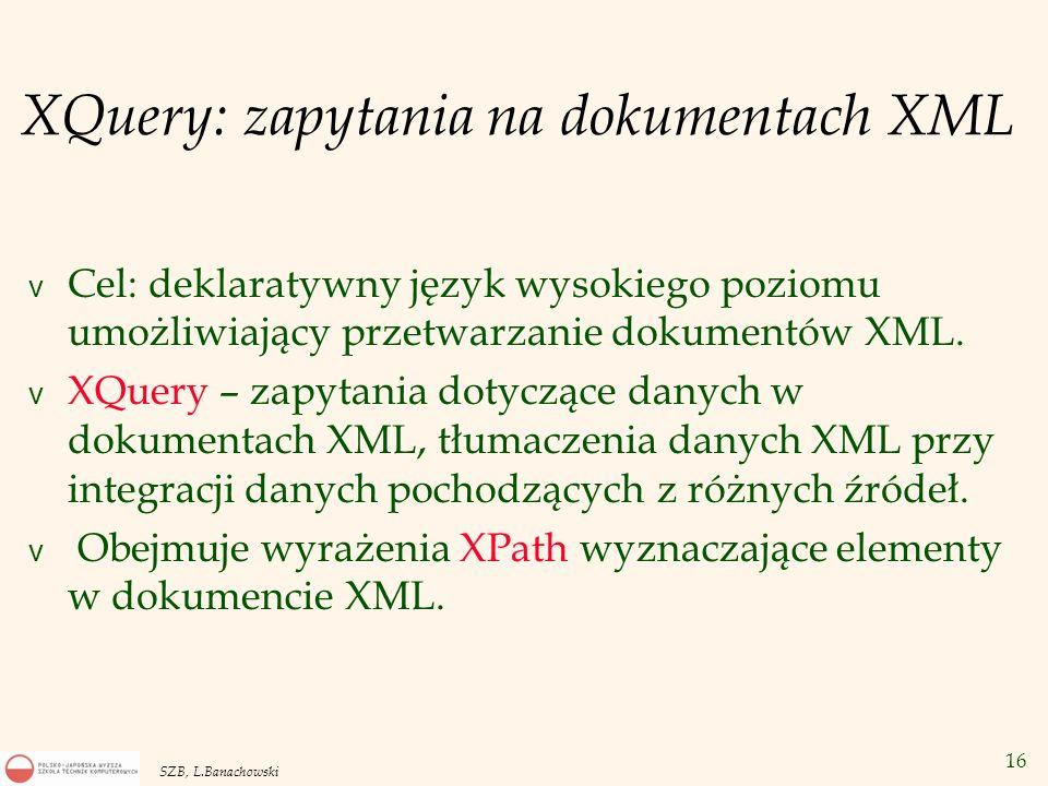 XQuery: zapytania na dokumentach XML