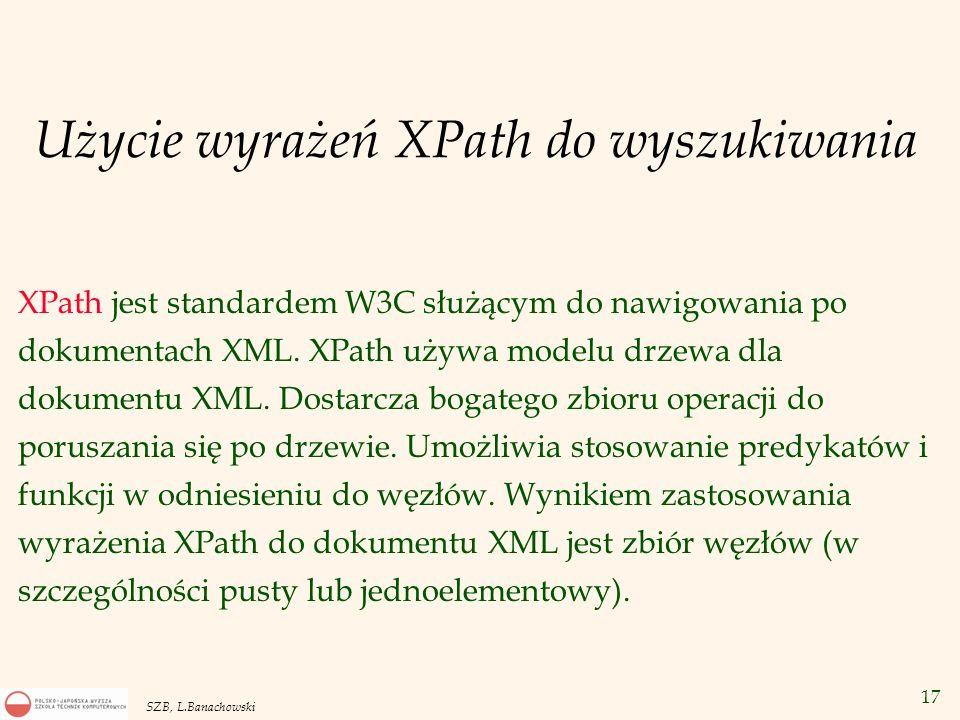 Użycie wyrażeń XPath do wyszukiwania