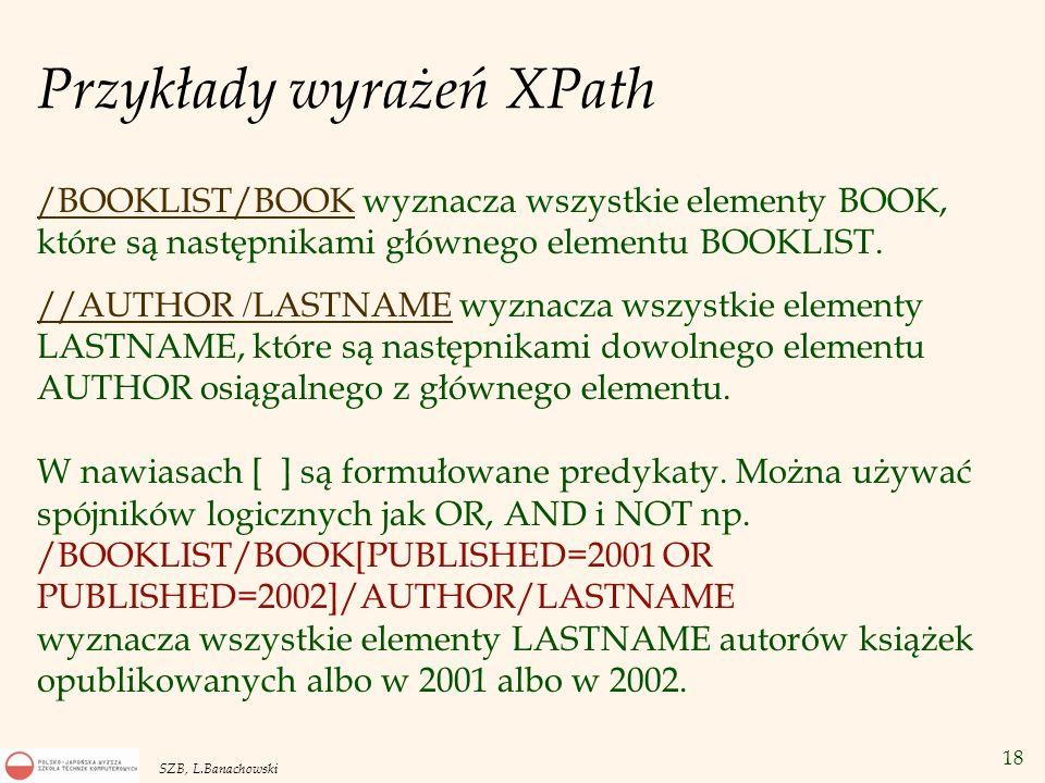 Przykłady wyrażeń XPath