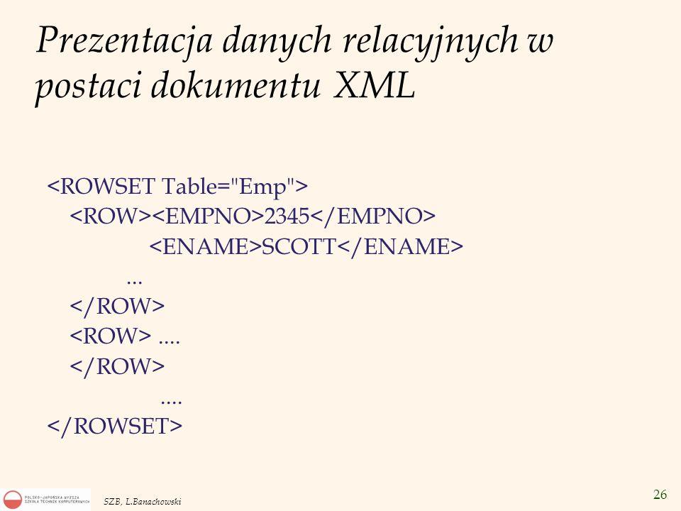 Prezentacja danych relacyjnych w postaci dokumentu XML