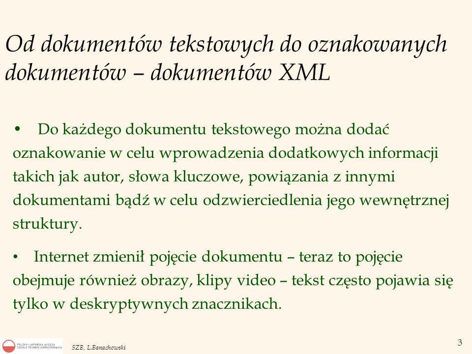 Od dokumentów tekstowych do oznakowanych dokumentów – dokumentów XML